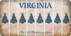 Virginia CHRISTMAS TREE Cut License Plate Strips (Set of 8) LPS-VA1-077
