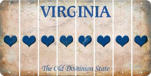 Virginia HEART Cut License Plate Strips (Set of 8) LPS-VA1-081