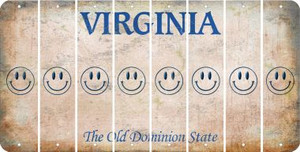 Virginia SMILEY FACE Cut License Plate Strips (Set of 8) LPS-VA1-089