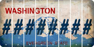 Washington HASHTAG Cut License Plate Strips (Set of 8) LPS-WA1-043