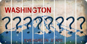 Washington QUESTION MARK Cut License Plate Strips (Set of 8) LPS-WA1-047