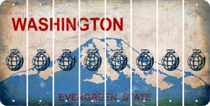 Washington HAND GRENADE Cut License Plate Strips (Set of 8) LPS-WA1-050