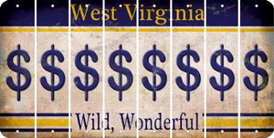 West Virginia DOLLAR SIGN Cut License Plate Strips (Set of 8) LPS-WV1-040