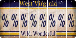 West Virginia PERCENT SIGN Cut License Plate Strips (Set of 8) LPS-WV1-046