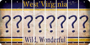 West Virginia QUESTION MARK Cut License Plate Strips (Set of 8) LPS-WV1-047