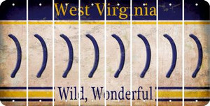 West Virginia RIGHT PARENTHESIS Cut License Plate Strips (Set of 8) LPS-WV1-048