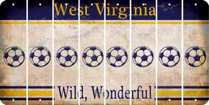 West Virginia SOCCERBALL Cut License Plate Strips (Set of 8) LPS-WV1-061