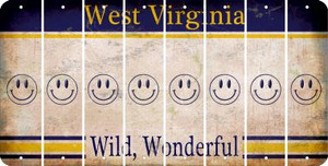 West Virginia SMILEY FACE Cut License Plate Strips (Set of 8) LPS-WV1-089