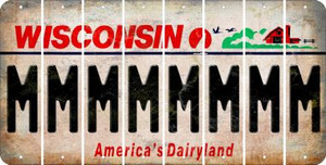 Wisconsin M Cut License Plate Strips (Set of 8) LPS-WI1-013