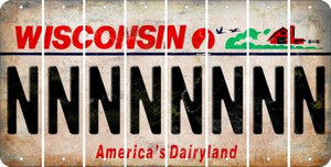Wisconsin N Cut License Plate Strips (Set of 8) LPS-WI1-014