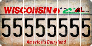 Wisconsin 5 Cut License Plate Strips (Set of 8) LPS-WI1-032