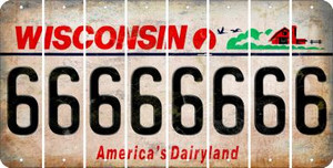 Wisconsin 6 Cut License Plate Strips (Set of 8) LPS-WI1-033