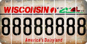 Wisconsin 8 Cut License Plate Strips (Set of 8) LPS-WI1-035