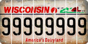 Wisconsin 9 Cut License Plate Strips (Set of 8) LPS-WI1-036
