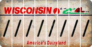 Wisconsin FORWARD SLASH Cut License Plate Strips (Set of 8) LPS-WI1-042