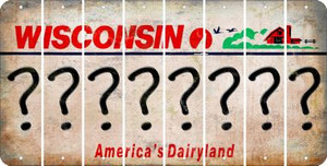 Wisconsin QUESTION MARK Cut License Plate Strips (Set of 8) LPS-WI1-047
