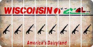 Wisconsin SUBMACHINE GUN Cut License Plate Strips (Set of 8) LPS-WI1-055