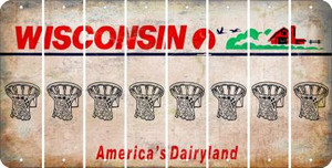 Wisconsin BASKETBALL HOOP Cut License Plate Strips (Set of 8) LPS-WI1-058