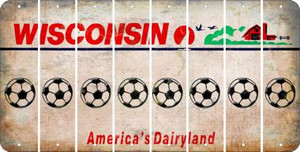 Wisconsin SOCCERBALL Cut License Plate Strips (Set of 8) LPS-WI1-061