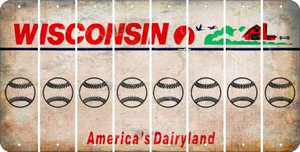 Wisconsin BASEBALL / SOFTBALL Cut License Plate Strips (Set of 8) LPS-WI1-063