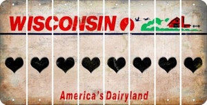 Wisconsin HEART Cut License Plate Strips (Set of 8) LPS-WI1-081