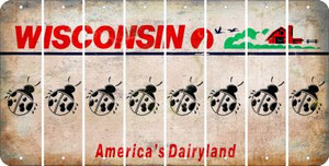 Wisconsin LADYBUG Cut License Plate Strips (Set of 8) LPS-WI1-087