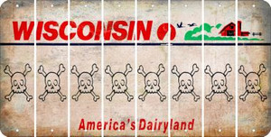 Wisconsin SKULL Cut License Plate Strips (Set of 8) LPS-WI1-092