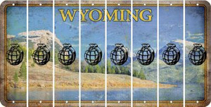 Wyoming HAND GRENADE Cut License Plate Strips (Set of 8) LPS-WY1-050
