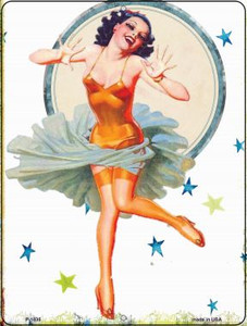 Girl With Orange Body Suit Vintage Pinup Wholesale Parking Sign P-1835