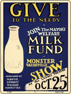 Milk Fund Vintage Poster Wholesale Parking Sign P-1857