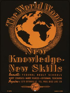 New Knowledge New Skills Vintage Poster Wholesale Parking Sign P-1878