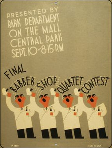 Barber Shop Quartet Contest Vintage Poster Parking Sign P-1889