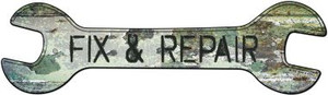 Fix and Repair Wholesale Novelty Metal Wrench Sign W-106
