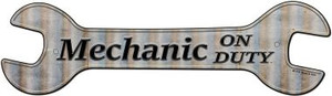 Mechanic On Duty Wholesale Novelty Metal Wrench Sign W-114