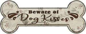 Beware of Dog Kisses Wholesale Novelty Bone Magnet B-008