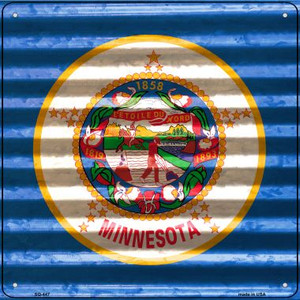 Minnesota Flag Corrugated Effect Wholesale Novelty Square Sign SQ-447