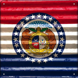 Missouri Flag Corrugated Effect Wholesale Novelty Square Sign SQ-449