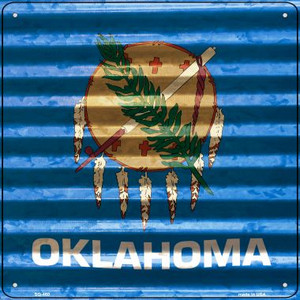 Oklahoma Flag Corrugated Effect Wholesale Novelty Square Sign SQ-460
