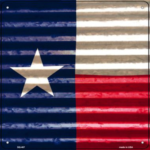 Texas Flag Corrugated Effect Wholesale Novelty Square Sign SQ-467