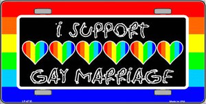 Support Gay Marriage Wholesale Metal Novelty License Plate LP-4715