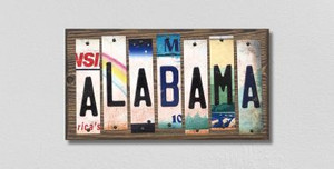 Alabama Wholesale Novelty License Plate Strips Wood Sign