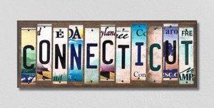 Connecticut Wholesale Novelty License Plate Strips Wood Sign