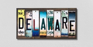 Delaware Wholesale Novelty License Plate Strips Wood Sign