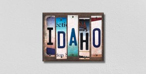 Idaho Wholesale Novelty License Plate Strips Wood Sign