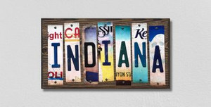 Indiana Wholesale Novelty License Plate Strips Wood Sign
