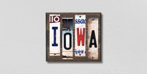 Iowa Wholesale Novelty License Plate Strips Wood Sign
