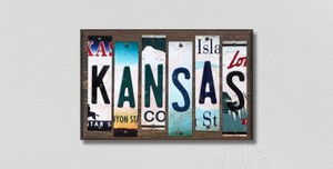 Kansas Wholesale Novelty License Plate Strips Wood Sign