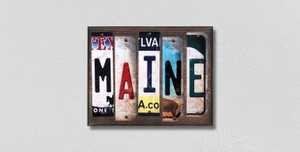 Maine Wholesale Novelty License Plate Strips Wood Sign