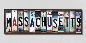 Massachusetts Wholesale Novelty License Plate Strips Wood Sign WS-172