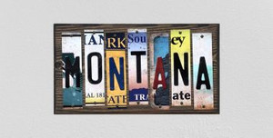 Montana Wholesale Novelty License Plate Strips Wood Sign